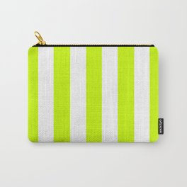 Volt green - solid color - white vertical lines pattern Carry-All Pouch