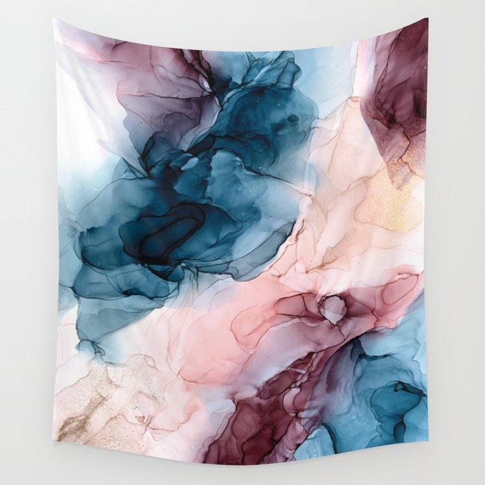 Pastel Plum, Deep Blue, Blush and Gold Abstract Painting Wandbehang