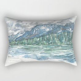 Kintla Lake Watercolor Painting of Glacier National Park Rectangular Pillow