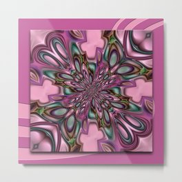 Purple digital flower arat Metal Print