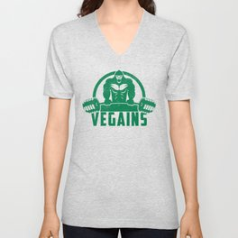 Vegains Vegan Muscle Gorilla - Funny Workout Quote Gift Unisex V-Neck