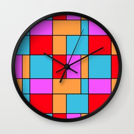 An abstract geometric pattern . Cage orange , blue , red . Wall Clock