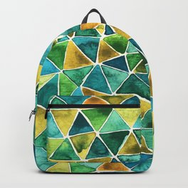Geometric blue and yellow design Backpack