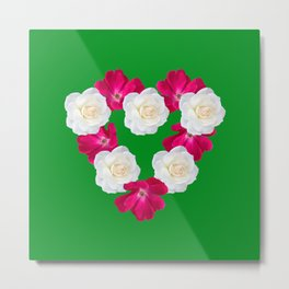 Rose Heart Kelly Green Metal Print