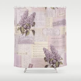 Vintage Flyers and Lilacs Shower Curtain