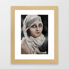 ' Bandages '  classic vintage retro lady digital potrait painting Framed Art Print