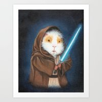 guinea pig Art Prints featuring Jedi Guinea Pig by When Guinea Pigs Fly