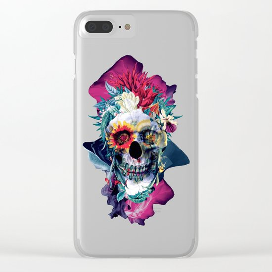 Floral Skull Blue Clear iPhone Case