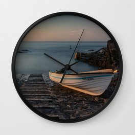 Boat in the dock Wall Clock