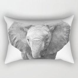 Black and White Baby Elephant Rectangular Pillow