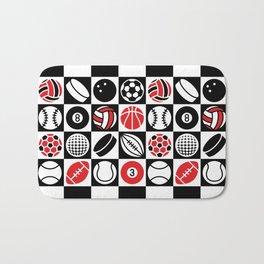 Sport Ball Checkerboard Bath Mat