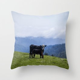 Mama and her baby calf. Throw Pillow
