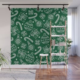 Christmas Doodle Pattern Wall Mural