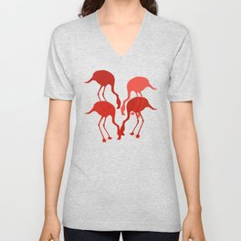 Red Flamingo Animal Camouflage Pattern Unisex V-Neck