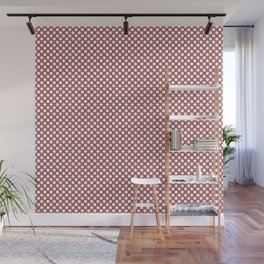 Dusty Cedar and White Polka Dots Wall Mural
