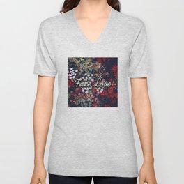 Fake Love Red Floral Unisex V-Neck