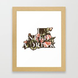 Florals Need Drink Framed Art Print