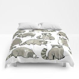 Delightfully Blobby Raccoons Comforters