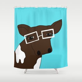 Matilda the Hipster Cow Shower Curtain