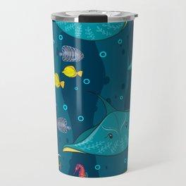 Decorative seamless pattern with sea fish on blue background. Travel Mug