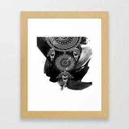 Tribal Black Watercolor Feather Boho Design Framed Art Print