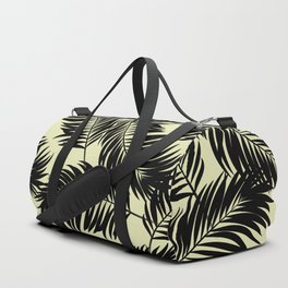 Palm Frond Tropical Décor Leaf Pattern Black on Yellow Duffle Bag