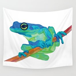 Curious Blue Frog Wall Tapestry