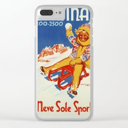 Cortina Vintage Italian travel winter sport Clear iPhone Case