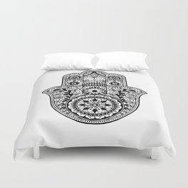 Black and White Hamsa Hand Duvet Cover