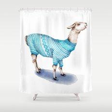 Llama in a Blue Sweater Shower Curtain
