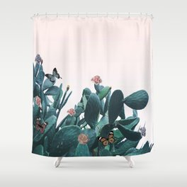 Cactus & Flowers - Follow your butterflies Shower Curtain