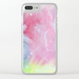Modern abstract colorful artistic watercolor marble Clear iPhone Case