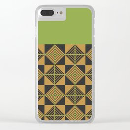 spider squares _ green Clear iPhone Case