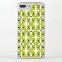 Mid Century Modern Star Pattern 541 Chartreuse Clear iPhone Case