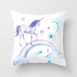 Watercolor Over the Rainbow Unicorn Throw Pillow