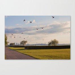 HyperReality Shift. Starling Flyover. Canvas Print