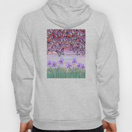swallowtails, snails, & irises at sunrise Hoody