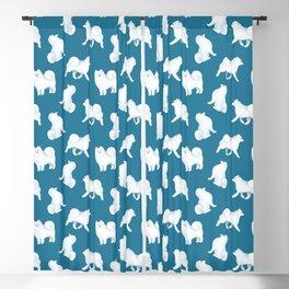 Samoyed Pattern (Blue Background) Blackout Curtain