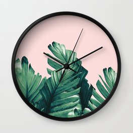 Blush Banana Leaves Dream #3 #tropical #decor #art #society6 Wall Clock