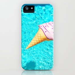 pink ice cream cone float all up in my pool yo iPhone Case