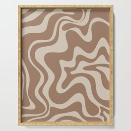 Liquid Swirl Contemporary Abstract Pattern in Chocolate Milk Brown and Beige Serving Tray