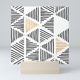 Simple Geometric Zig Zag Pattern - Black Gold White - Mix & Match with Simplicity of life Mini Art Print