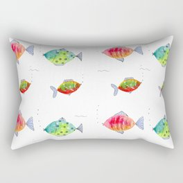 Whimsical fishes watercolor pattern Rectangular Pillow