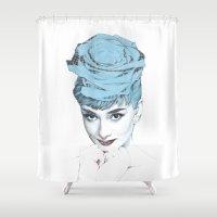 audrey Shower Curtains featuring Audrey by Susana Miranda ilustración