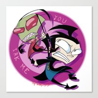 invader zim Canvas Prints featuring Invader Zim You Irk Me by squ1dp0ny