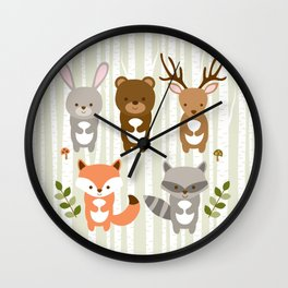 Cute Woodland Forest Animals Wall Clock
