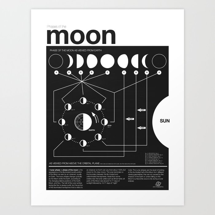 Phases of the Moon infographic Art Print