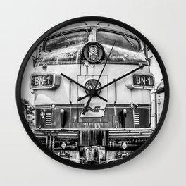 Cab Forward Black and White Vintage BN-1 EMD Train Locomotive Wall Clock