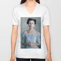 valentina V-neck T-shirts featuring Valentina by Maria Kanevskaya