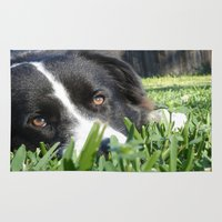 border collie Area & Throw Rugs featuring Thoughtful Border Collie by elledeegee